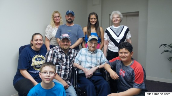 Mark Behrends (center) with family members at his 110th birthday celebration on May 16. (Photo Credit:Omaha World-Herald)