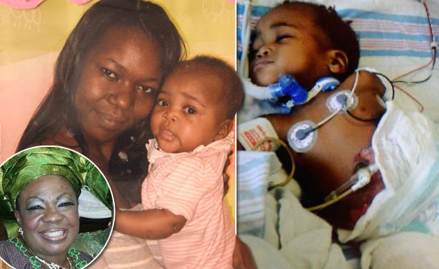 The Baby With her Mother and the Nigerian Nurse (Inset) (Photo Credit :nydailynews.com/