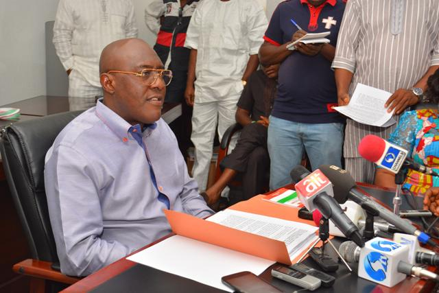 National Publicity Secretary of the  Peoples Democratic Party, Chief Olisa Metuh at a press conference (Phot Credit: PDP)