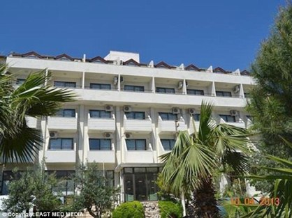 The Sun Princess Apt. in Turkish resort town Marmaris, where the drunk couple caused havoc among the guests and injured seven people after the woman got naked in public and refused to put on her clothes. (Photo Credit: east Med Media)