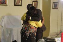 Sweet moment, the couple share a hug (Credit: Stephanie Daily)