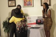 The couple share a hug after they receive their gift (Credit: Stephanie Daily)