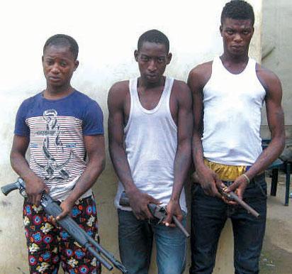 Three robbery suspects, Taiwo Amosu, Jamic Amzat and Owolabi Aremu who roar like lions to get victims in Lagos State. (Photo Credit: Vanguard)