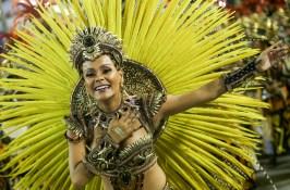 "A reveller from ""Sao Clemente"" samba school participates in the carnival samba parade at the Sambadrome Rio Carnival, Rio de Janeiro, Brazil - 16 Feb 2015 (Photo Credit: Xinhua News Agency/REX)"