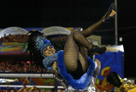 Members of the samba school Portela perform during the parade on the second performing night of the Special Group of the Rio de Janeiro Carnival, at the Sambadrome Rio Carnival, Rio de Janeiro, Brazil - 16 Feb 2015 (Photo Credit: Agencia EFE/REX )