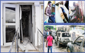 The Zenith Bank doors that were blown open with dynamite, the burnt SUVs and one of the victims (Credit: The Punch)