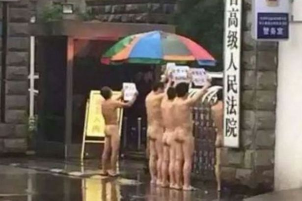 Five men were arrested by court police after they stripped totally naked and protested outside a court house in China. (Photo Credit: Shanghaiist)