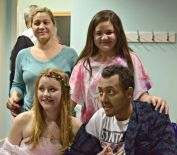 Amie Cresswell with Omar Al Shaikh with guests during the wedding ceremony at Birmingham's Queen Elizabeth Hospital three days before he died of leukemia. (Photo Credit: Caters)