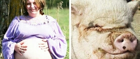Pregnant Angie Houston from Texas claims she might give birth to a baby pig after she was raped by a pig. (Photo Credit:  Ellis County News)