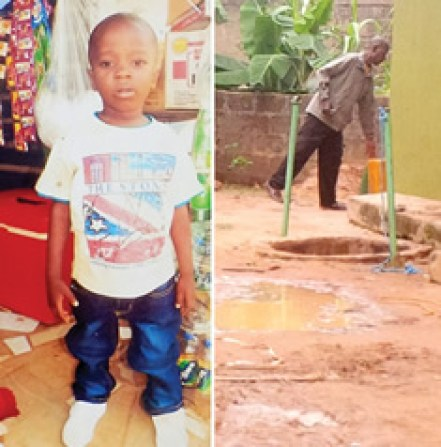 3-year-old Samuel Emmanuel Oluwatunmise, who fell inside a deep well (Right) and died on Sunday, July 19, 2015  while he was playing with his friends at Hassan Street, Ayinla Avenue in the Ita-Oluwo area of Ikorodu, Lagos State. (Photo Credit: Punch)