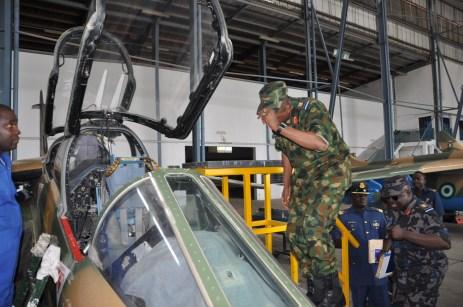 The Chief of Air Staff, Air Vice Marshal SB Abubakar inspecting Alfa Jet Aircraft during his Operational Visit to 99 ACTG Kanji