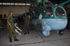 The Chief of Air Staff, Air Vice Marshal SB Abubakar inspecting Mi 35 Helicopter Gunship in 97 Special Operation Group Port-Harcourt during his Operational Visit to the Unit