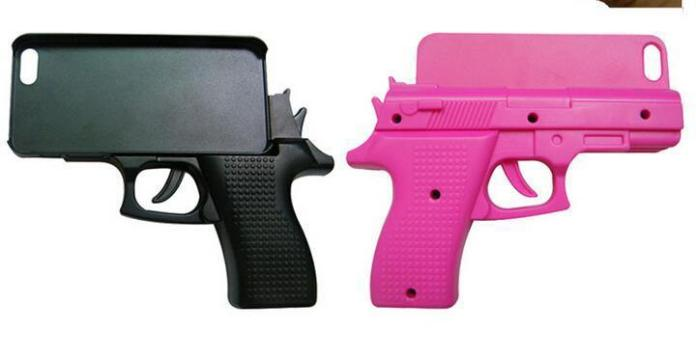 Police officials and anti-gun advocates are calling for a ban on the trending Gun-shaped iPhone covers that look like real gun. (Photo Credit: Aliexpress.com)