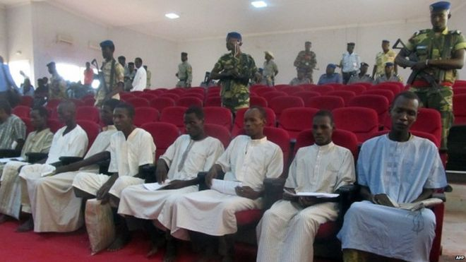 Ten members of Boko Haram who were sentenced to death on terror charges in Chad on Thursday, August 27, 2015. (Photo Credit: AFP)