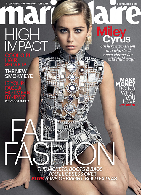 Miley Cyrus on latest Marie Claire cove