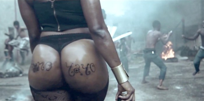 A still-shot from Phyno's banned video, Yayo