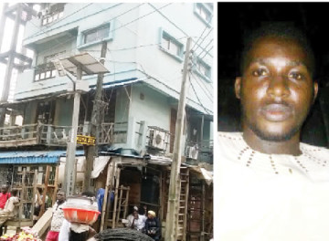 The apartment where a landlord, Sola Solomon, allegedly poured petrol and set fire to one of his tenants, identified simply as Abeeb, aka Ogbon (Right)  in the Idumota, Lagos Island area of Lagos State. (Photo Credit Punch)