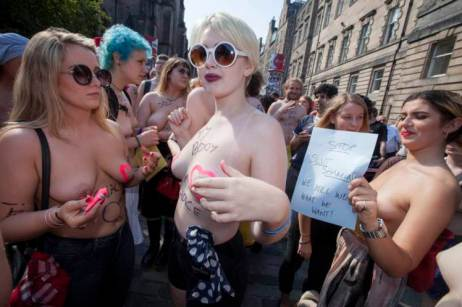 GoTopless Day 2015 Parade in New York City, New York, United States took place on Sunday, August 23, 2015. (Photo Credit: Dennis Van Tine/Future Image/WENN.com)