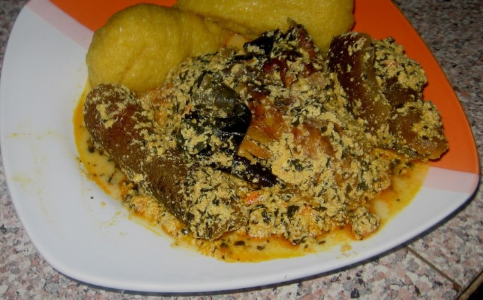 Egusi (melon) soup with kpomo and eba | Wives Town Hall Connection