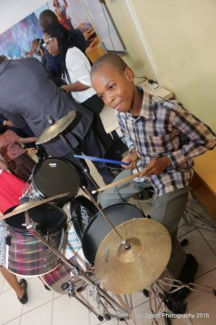 A member of the Children's Church playing drums at Aso Rock Chapel in the Presidential Villa on Professor Yemi Osinbajo's first Sunday as Vice President on May 31, 2015 (Photo Credit: Sesco)