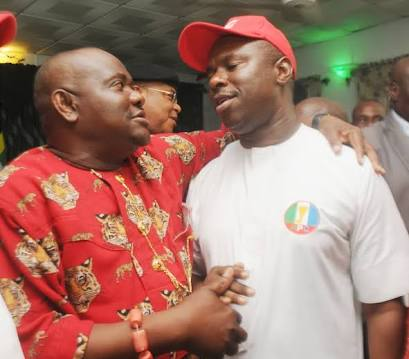 PDP Governorship candidate Barrister Nyesom Wike and APC Governorship candidate Peterside Dakuku at an event during the 2015 elections in which Wike emerged winner.