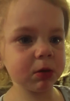 2-year-old girl crying because her dad says she cannot have a boyfriend. (Photo Credit: Youtube)
