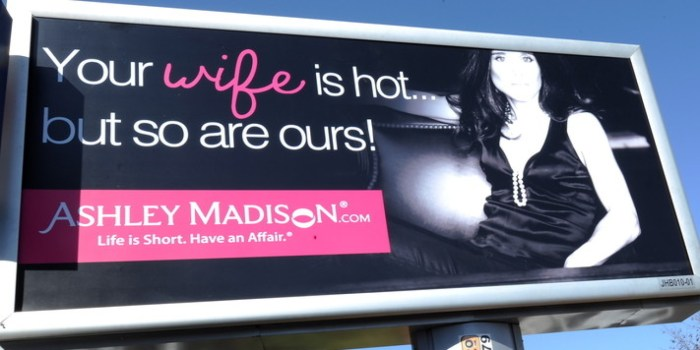 A billboard is displayed advertising online-affair website 'AshleyMadison.com' on June 6, 2012 in Johannesburg, South Africa. The controversial North American website that promotes extramarital affairs was launched in South Africa on June 4, 2012. AshleyMadison.com former CEO Noel Biderman's wife, Amanda, is South African. (Photo Credit: Foto24/Gallo Images /Getty Images)