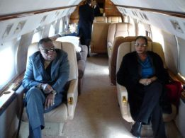 Deinde-Fernandez and wife pictured in a private jet