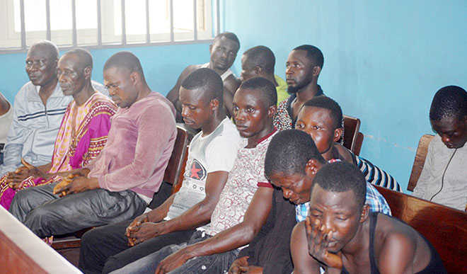 Suspected killers of the Managing Director of Lekki Worldwide Investment Limited, Mr. Tajudeen Disu, during their arraignment at a Chief Magistrate Court in Lagos yesterday.