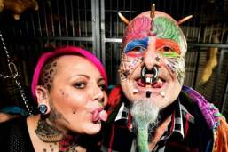 Extreme body mod fan, Ted Richards' during his latest surgery - to have his ears removed so he would look more like a parrot | SWNS