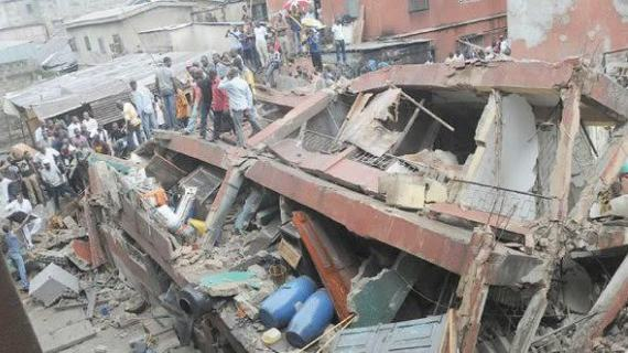 Three-storey building collapsed in Odunfa street Lagos Island, Lagos State in the early hours of Wednesday, October 21, 2015