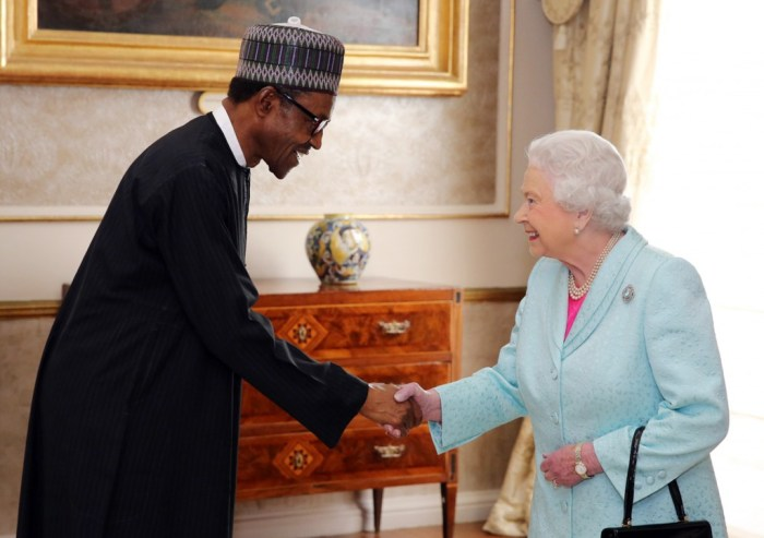 President Buhari is shaking hands with Queen Elizabeth II at the Commonwealth Heads of Government Meeting in Malta, November 28, 2015 | Getty Images