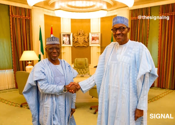 Governor Idris Wada of Kogi State shaking hands with President Muhammadu Buhari in Aso Rock | Signal