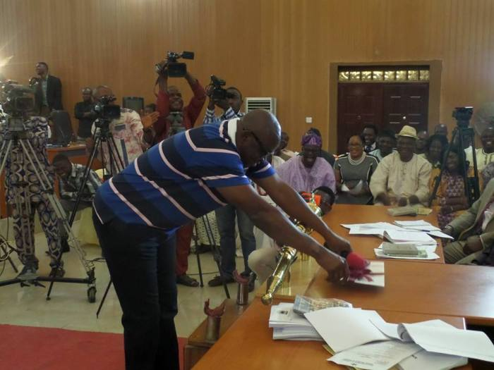 Governor Ayodele Fayose of Ekiti State presents budget to State House of Assembly   Facebook