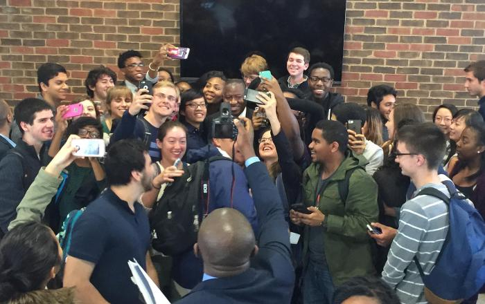 Former President Goodluck Jonathan visited The Presidential Precinct in Virginia, USA on November 9, 2015. Students in a mad rush to get a selfie with Dr. Jonathan  Flickr/The Presidential Precinct