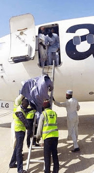 Ladder used to board plane at Bauchi airport