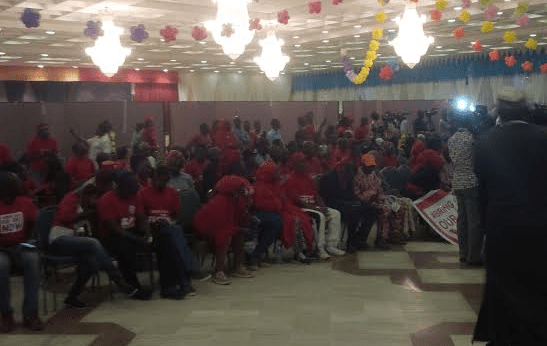 BBOG members and parents of the girls waiting for Buhari at the banquet hall of the presidential villa | Twitter