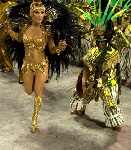 Brazilian singer Claudia Leitte performs in Mocidade de Padre Miguel samba school during the first night of the carnival parade at Sambadrome in Rio de Janeiro, Brazil on February 8, 2016. AFP PHOTO/ VANDERLEI ALMEIDAVANDERLEI ALMEIDA/AFP/Getty Images