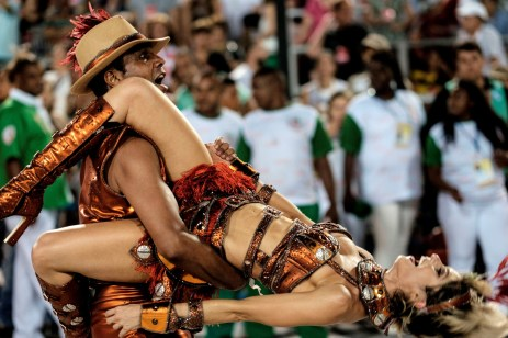 Revellers of Grande Rio samba school perform during the first night of the carnival parade at Sambadrome in Rio de Janeiro, Brazil on February 8, 2015. AFP PHOTO / YASUYOSHI CHIBAYASUYOSHI CHIBA/AFP/Getty Images
