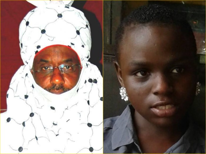 Emir of Kano, Muhammad Sanusi II (L) and Miss Ese Rita Oruru, the 14-year-old abducted from her home in Bayelsa and found converted, married off in Kano