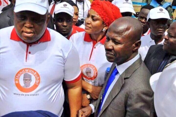 Chairman of Nigeria's Economic and Financial Crimes Commission (EFCC), Ibrahim Magu sighted in solidarity with the #IStandWithBuhariCampaign
