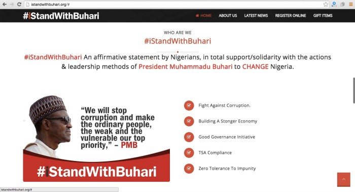 Screengrab from the #IStandWithBuhari website