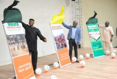 Governor Segun Mimiko (1st left), NFF President Amaju Pinnick (middle), at the official launch of the Ondo State Football Academy at The Dome in Akure on Monday, March 7, 2016 | Ondo TV
