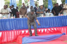 Deputy National Chairman of the PDP, Chief Uche Secondus dancing to the glory of the LORD at the thanksgiving service hosted by Governor Nyesom Wike over the party's victory at the Rivers legislative rerun elections held on March 19, 2016 | Oraye St. Franklyn