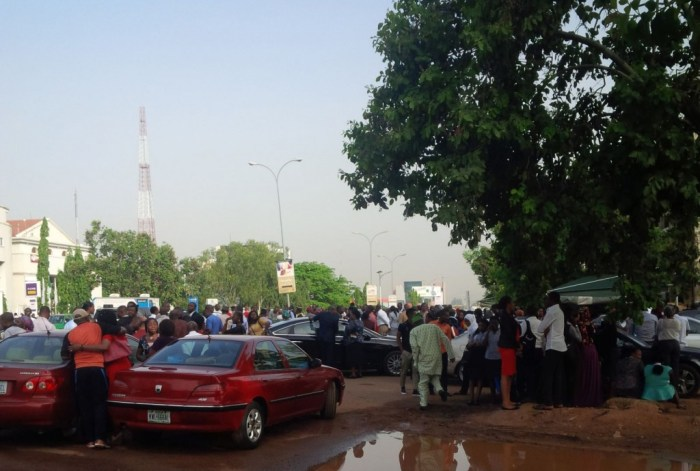 NUPENG workers barricade NNPC Headquarters, Abuja on Wednesday, March 9, 2015 | Fred Nwabufo/The Cable