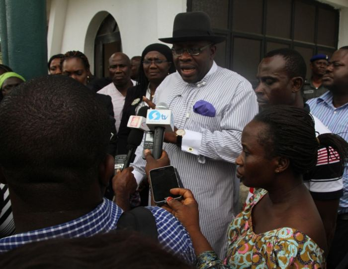 Bayelsa State Governor, Hon. Seriake Dickson (centre), briefing a cross section of Journalists, shortly after meeting with 14 year-old Ese Oruru, who was abducted in Yenagoa 6 months ago and taken to Kano and her Parents, Mrs Rose Oruru and her husband, Mr. Oruru (right), on Ese's return to Yenagoa, at Government House,Yenagoa on Thursday, March 3, 2016 | Lucky Francis