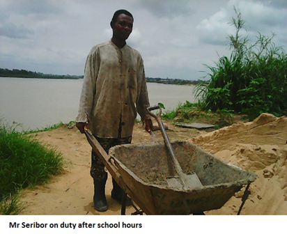 60-year-old Adalabu Seribor,  JSS 2 student of Izon College, Bomadi- Overside in Bomadi Local Government Area, Delta State, working after school hours.