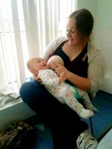 Rachel Richardson breast feeding baby Rio | SWNS