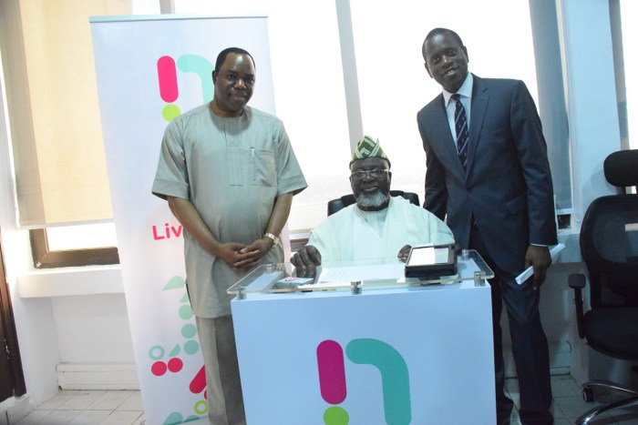 (L-R) Dr. Tunde Ayeni, chairman NatCom, Barrister Adebayo Shittu, minister of Communications and Kamar Abass, CEO ntel at ntel's Marina Office in Lagos when the minister paid a courtesy visit and registered his SIM on the network. | ntel Photo