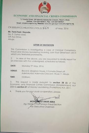 EFCC's official invitation letter to Fani-Kayode.